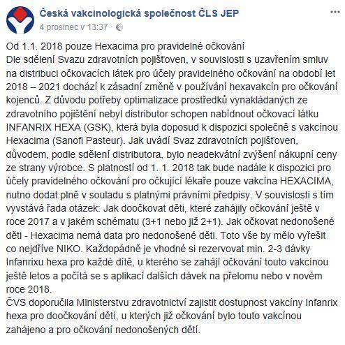 Česká vakcinologická společnost - nedostupnost Infanrixu hexa, od r. 2018 pouze Hexacima