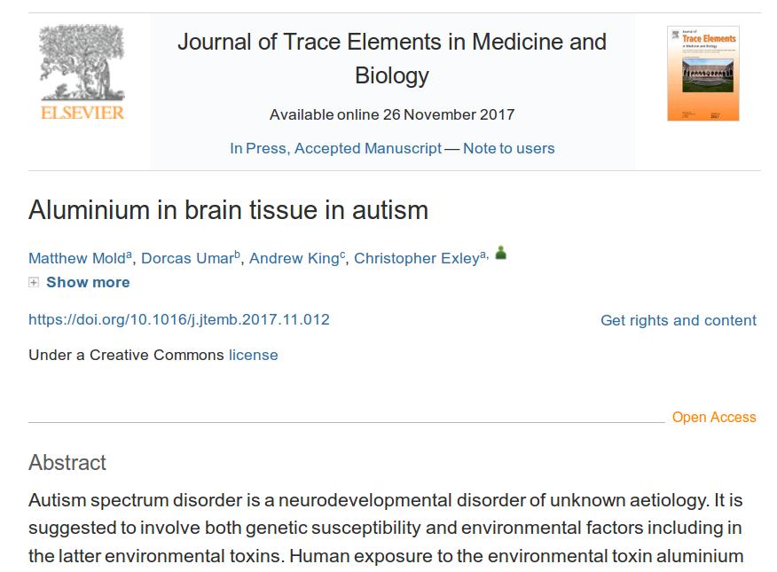 Hlinik v mozcích autistů - převratný výzkum, který ukazuje, že hliník v mozcích u autismu pochází z vakcín