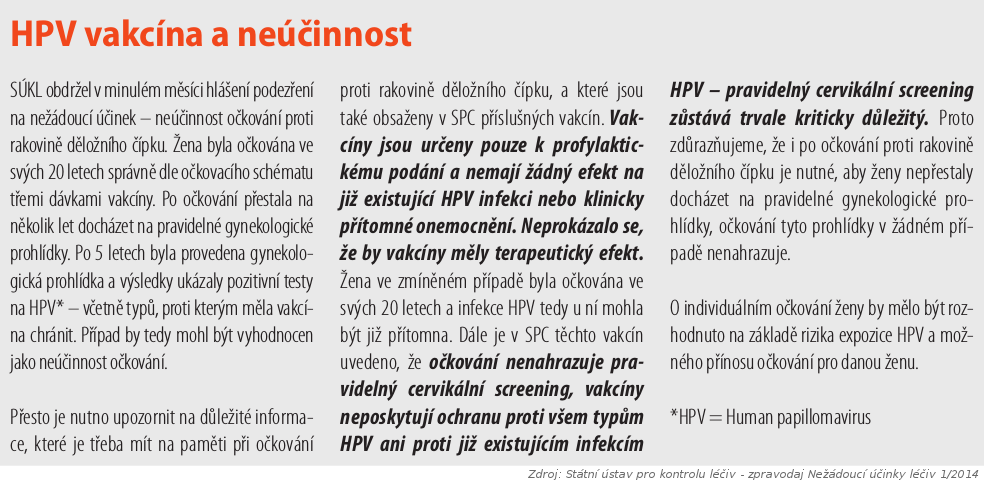 HPV vakcína a neúčinnost - očkování proti rakovině děložního čípku nemusí chránit