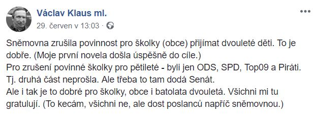V. Klaus ml. - školky