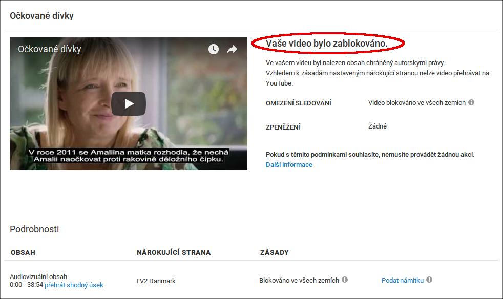 Očkované dívky titulní obrázek YouTube