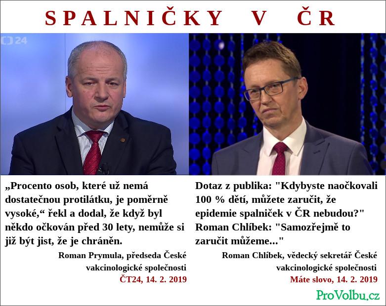Chlíbek vs Prymula - Česká vakcinologická společnost nemá jasno v názoru na epidemii spalniček